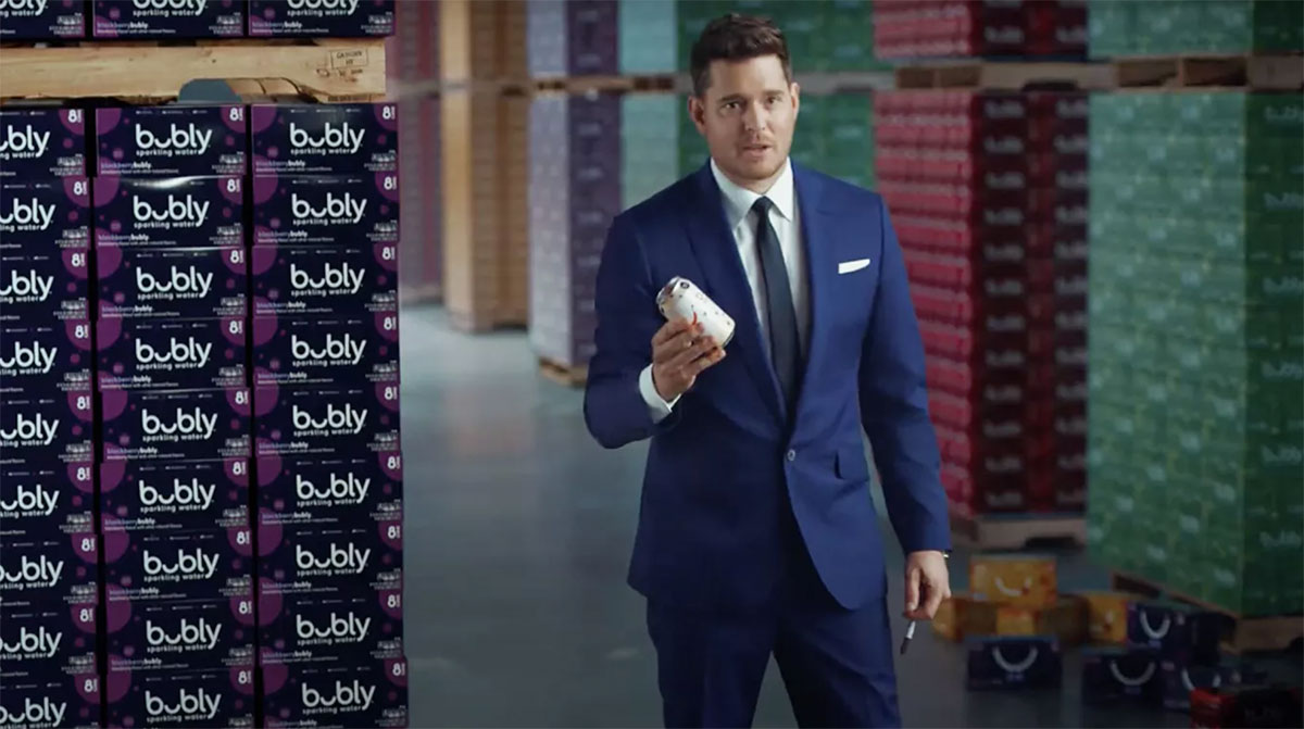 Michael Buble holding a can of Bubly