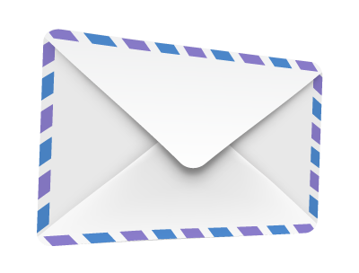An envelope with purple and blue stripes
