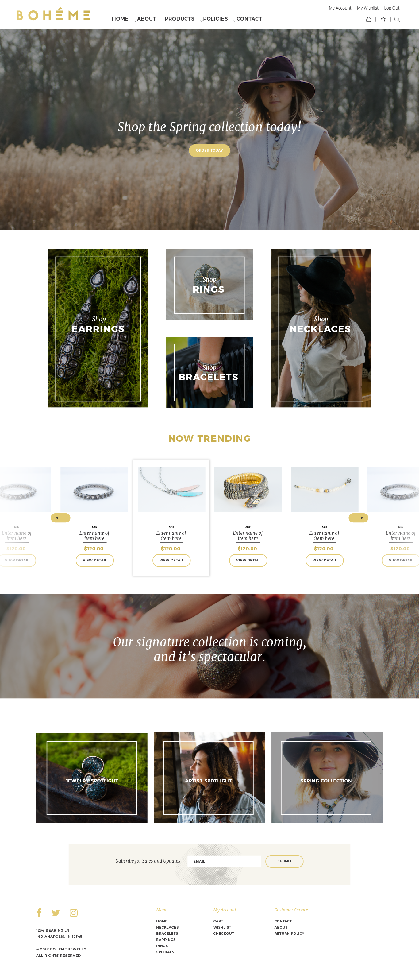Boheme Jewelry Homepage Website Mockup K. Karnes Designs