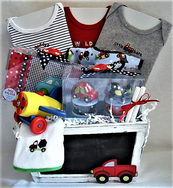 Baby boy keepsakes, baby boy brag book, 100% Cotton Baby Clothes, transportation themed baby boy basket, baby boy gift basket