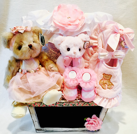 plush bear toy gift basket, new born gift baskets, baby girl gift baskets,