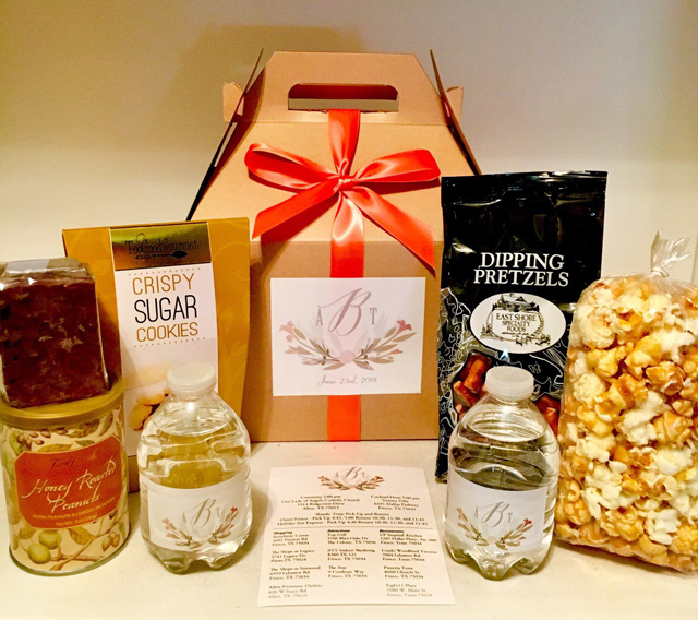 A customized wedding welcome gift, that features personalized labels, and gourmet treats.