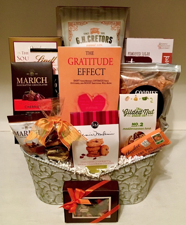 gratitude gift basket, gift basket, pennys gift baskets, holiday gift baskets, holiday baskets,