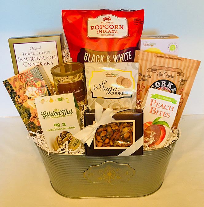 falling snow gift basket, gift basket, holiday gift basket, christmas gift basket, corporate gift basket,