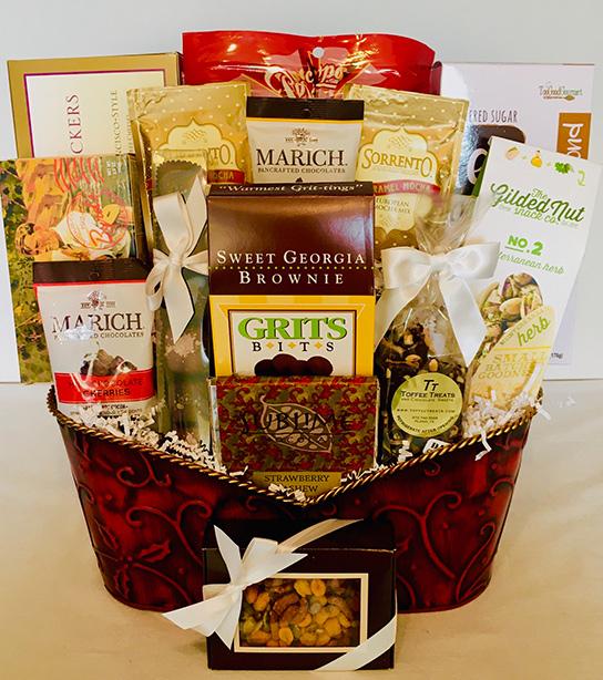 holiday, holiday gift basket, christmas gift basket, christmas basket