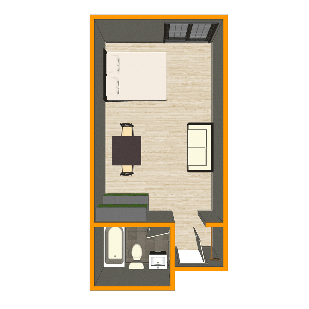 Plan d'appartement studio