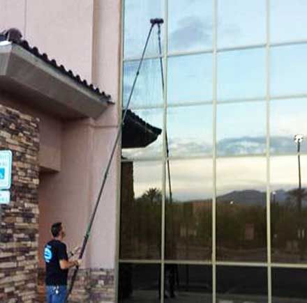 Commercial window cleaning with a water fed pole in Las Vegas