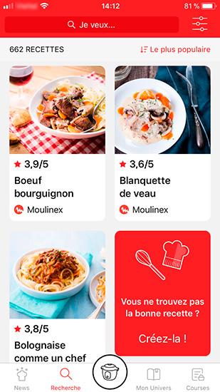 screenshot mon cookeo onglet Recherche