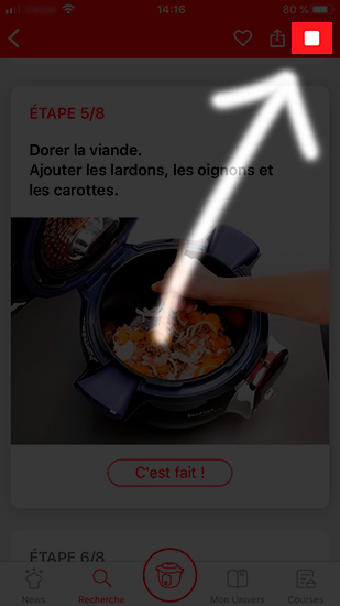 screenshot mon cookeo recette