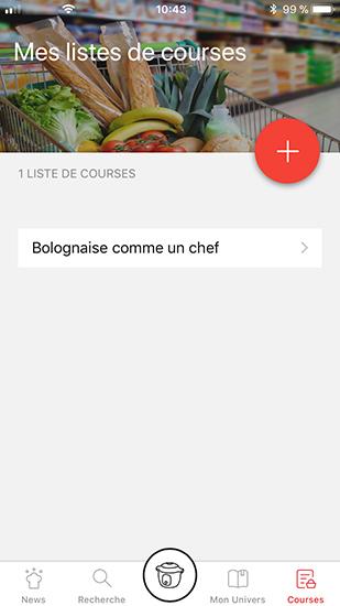 screenshot mon cookeo liste de course