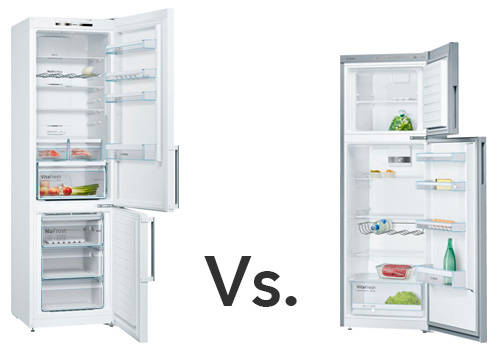 illustration refrigerateur congelateur en bas Vs. refrigerateur congelateur en haut