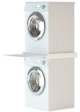 photo colonne de lavage lave linge + seche linge