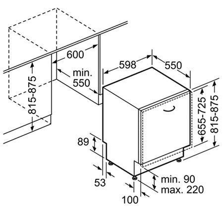 illustration dimensions lave vaisselle encastrable
