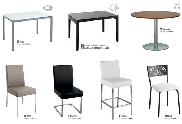 illustration catalogue Cuisinella table chaise