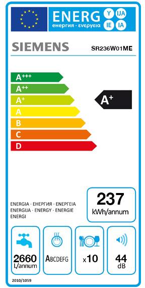 Etiquette Energie Siemens SR236W01ME