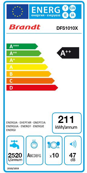 Etiquette Energie Brandt DFS1010X