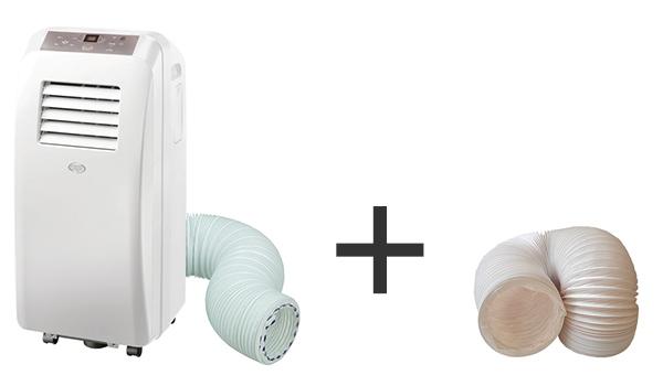 illustration climatiseur mobile + conduit d'evacuation