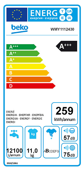 Etiquette Energie Beko WMY1112430