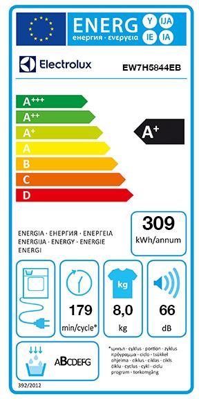 Etiquette Energie Electrolux EW7H5844EB