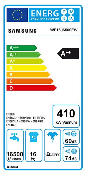 Etiquette Energie Samsung WF16J6500EW