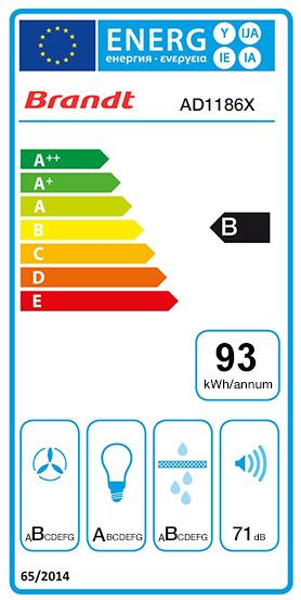 Etiquette Energie Brandt AD1186X
