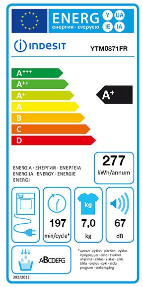 Etiquette Energie Indesit YTM0871FR