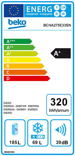 Etiquette Energie Beko BCNA275E33SN