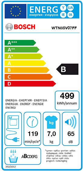 Etiquette Energie Bosch WTN85V07FF