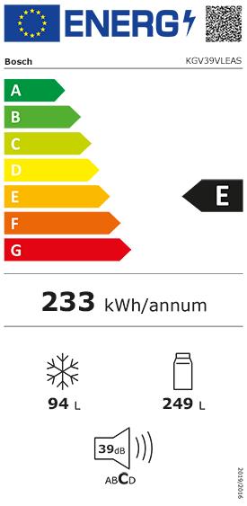 Etiquette Energie Bosch KGV39VLEAS