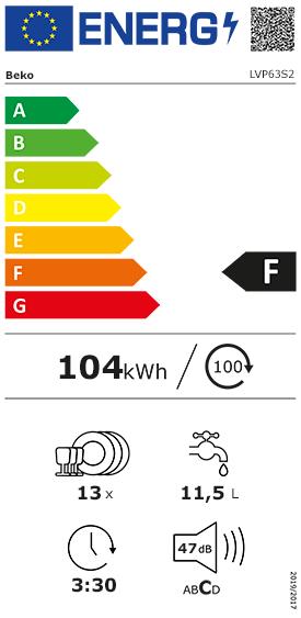 Etiquette Energie Beko LVP63S2