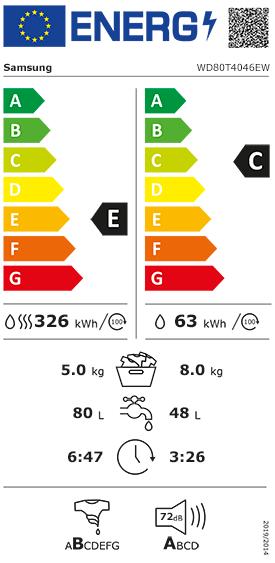 Etiquette Energie Samsung WD80T4046EW