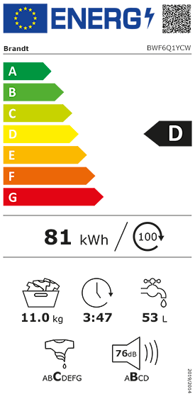 Etiquette Energie Brandt BWF6Q1YCW