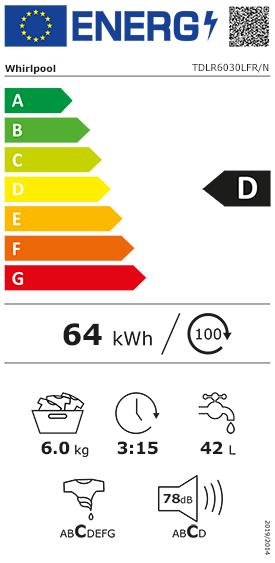Etiquette Energie Whirlpool TDLR6030LFR