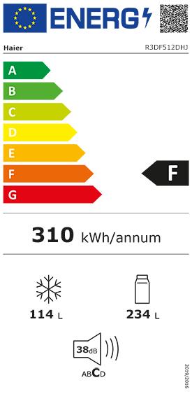 Etiquette Energie Haier R3DF512DHJ