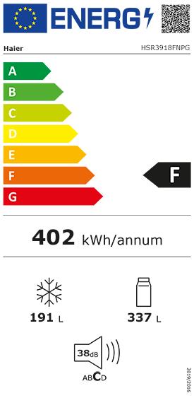 Etiquette Energie Beko HSR3918FNPG