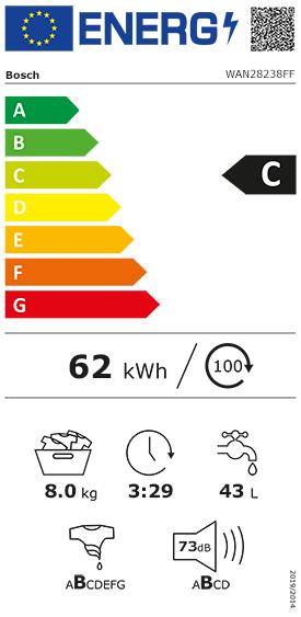 Etiquette Energie Bosch WAN28238FF