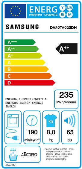 Etiquette Energie Samsung DV80TA020DH