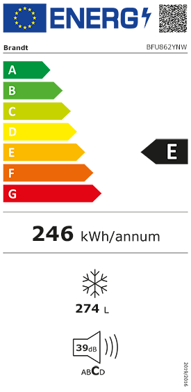 Etiquette Energie Brandt BFU862YNW