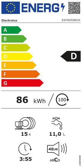 fiche énergétique Electrolux ESF8650ROX