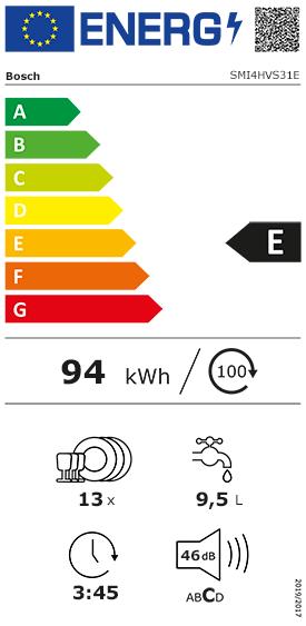 Etiquette Energie Bosch SMI4HVS31E