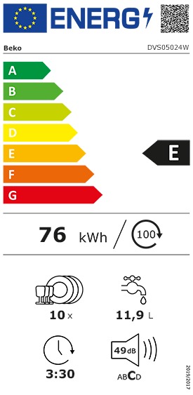 Etiquette Energie Beko DVS05024W