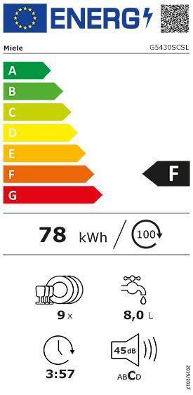 Etiquette Energie Miele G5430SCSL