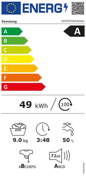 Etiquette Energie Samsung WW90TA046AX