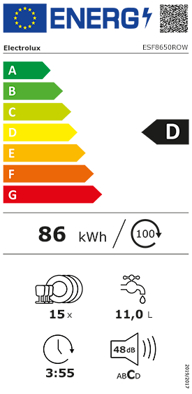 fiche énergétique Electrolux ESF8650ROW