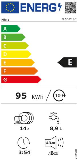 fiche énergétique Miele G5002SCBB