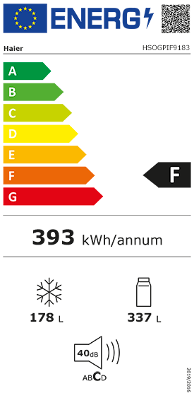 Etiquette Energie Haier HSOGPIF9183
