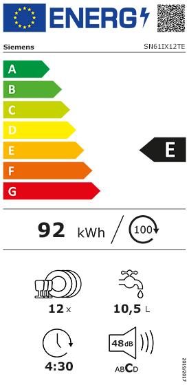 Etiquette Energie Siemens SN61IX12TE