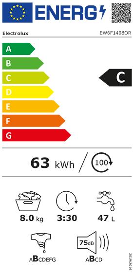 Etiquette Energie Electrolux EW6F1408OR