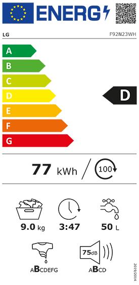 Etiquette Energie LG F92N23WH