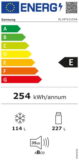 Etiquette Energie Samsung RL34T631ESA